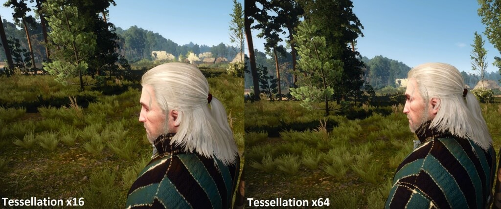 Comparativa de teselación Hairworks the witcher 3 16x vs 64x